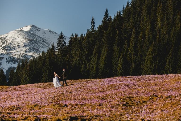 Natalia i Artur 271 krokusy, oryginalny plener ślubny, plener ślubny, sesja ślubna, sesja w tatrach