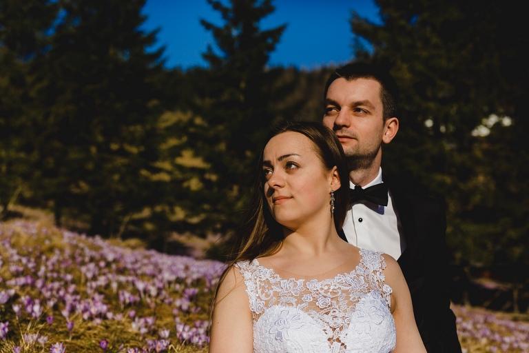 Natalia i Artur 303 krokusy, oryginalny plener ślubny, plener ślubny, sesja ślubna, sesja w tatrach