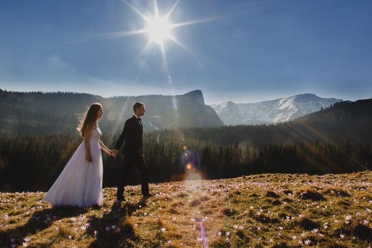 Natalia i Artur 317 krokusy, oryginalny plener ślubny, plener ślubny, sesja ślubna, sesja w tatrach