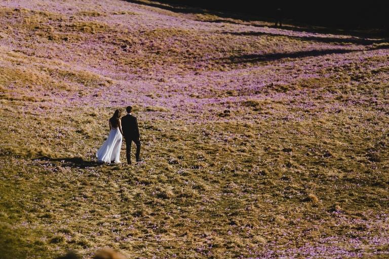 Natalia i Artur 323 krokusy, oryginalny plener ślubny, plener ślubny, sesja ślubna, sesja w tatrach