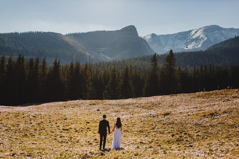 Natalia i Artur 329 krokusy, oryginalny plener ślubny, plener ślubny, sesja ślubna, sesja w tatrach