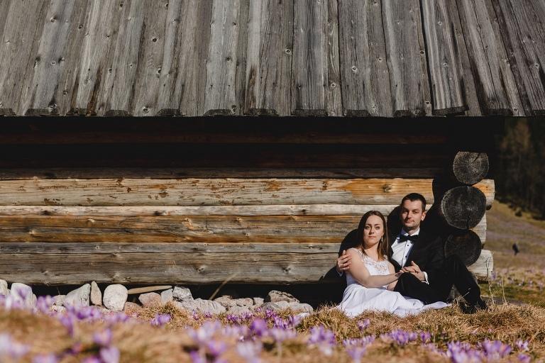 Natalia i Artur 335 krokusy, oryginalny plener ślubny, plener ślubny, sesja ślubna, sesja w tatrach